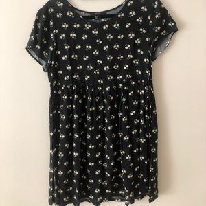 Black daisy babydoll dress